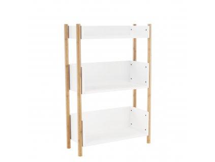 Kondela 3-poličkový regál, přírodní bambus/bílá, BALTIKA TYP 2