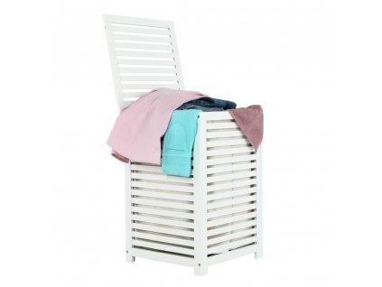 Kondela Koš na prádlo, lakovaný bambus/bílá/béžová, BASKET