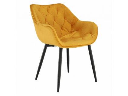 Kondela Designové křeslo, žlutá Velvet látka, FEDRIS