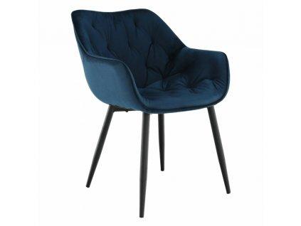 Kondela Designové křeslo, modrá Velvet látka, FEDRIS