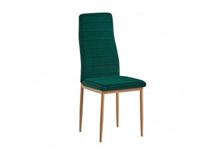 Kondela Židle, smaragdová, velvet látka / dub, COLETA NOVA