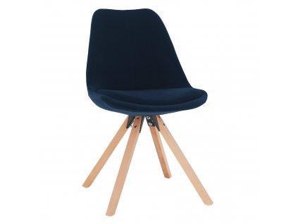 Kondela Židle, modrá Velvet látka/ buk, SABRA