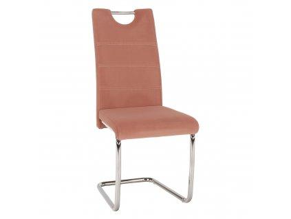 Kondela Jídelní židle, růžová Velvet látka, ABIRA NEW
