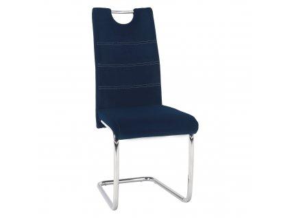 Kondela Jídelní židle, modrá Velvet látka, ABIRA NEW