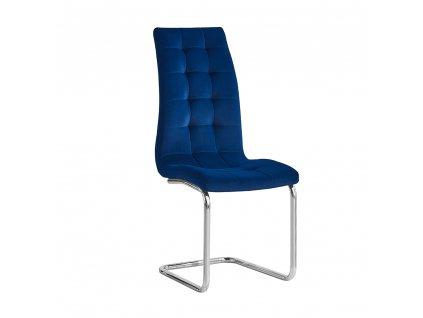 Kondela Jídelní židle, modrá Velvet látka / chrom, SALOMA NEW