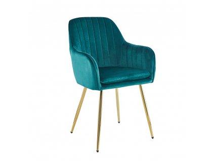 Kondela Designové křeslo, smaragdová Velvet látka / gold chrom-zlatý, ADLAM