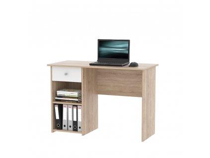 Kondela PC stůl, dub sonoma / bílá, KARLIS