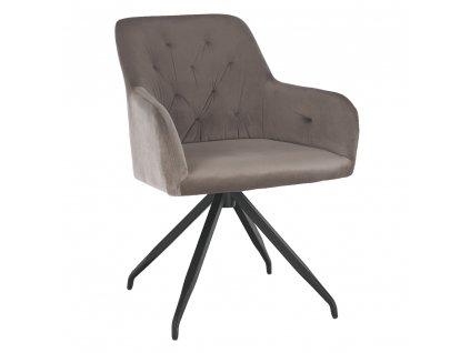 Kondela Otočná židle, šedohnědá Taupe Velvet látka/černá, VELEZA