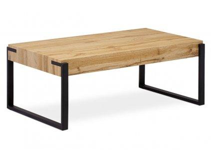 Konferenční stolek 110x60x42 cm, deska MDF dekor divoký dub tloušťka 10 cm, kov
