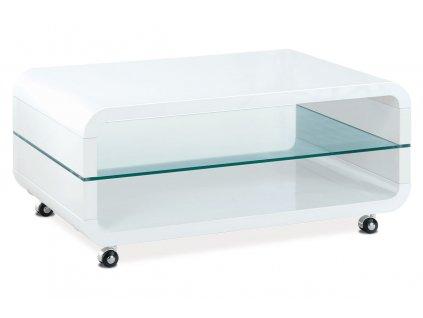 (AHG-011 WT) Konferenční stolek 90x60x40, MDF bílý vysoký lesk, čiré sklo, 4 kol