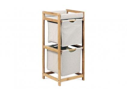 Regál 2 šuplíky, lakovaný bambus a látka