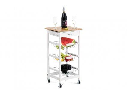 Servírovací stolek / regál na kolečkách s úložnými košíky, kostra MDF, vrchní deska bambus.
