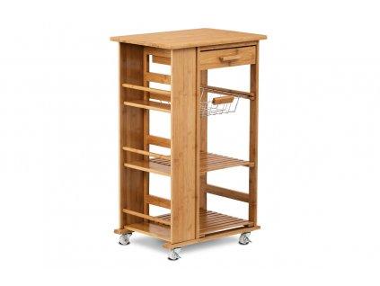 Servírovací stolek / regál policový na kolečkách, masiv bambus, přírodní odstín a lak