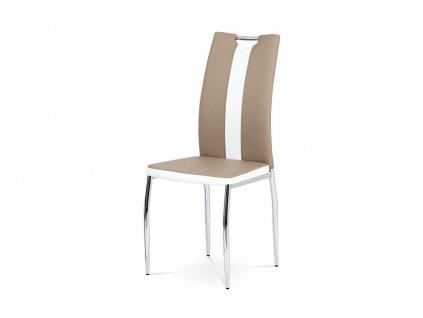 Jídelní židle, potah kombinace cappucino a bílé ekokůže, kovová čtyřnohá chromov