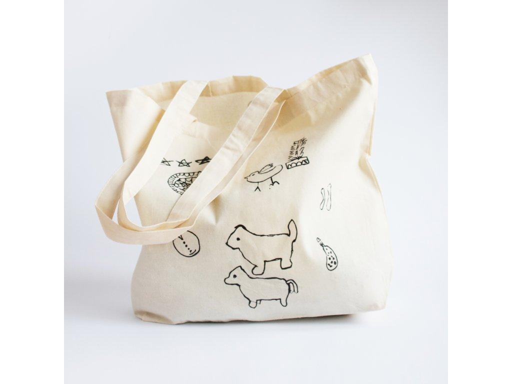 Plátěná taška - béžová se zvířátky