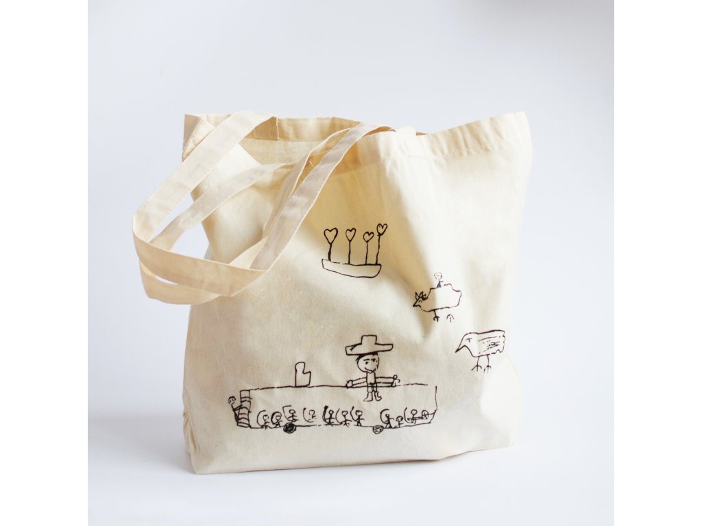 Plátěná taška - béžová s autobusem