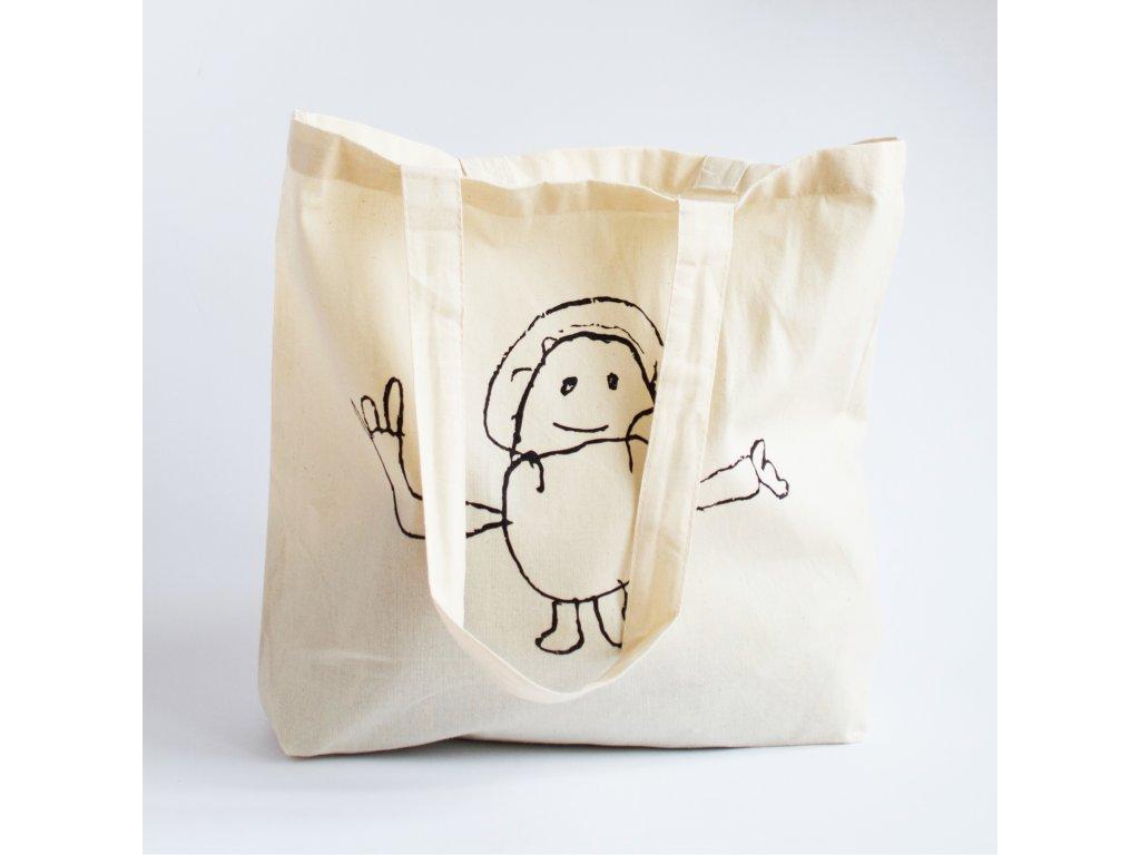 Plátěná taška - béžová s panáčkem