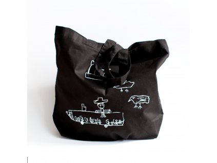 Plátěná taška - černá s autobusem