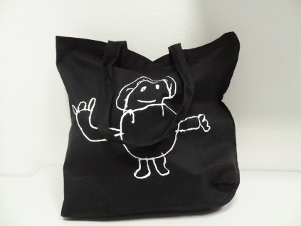 Plátěná taška - černá s panáčkem