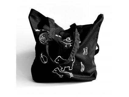 Plátěná taška - černá se zvířátky