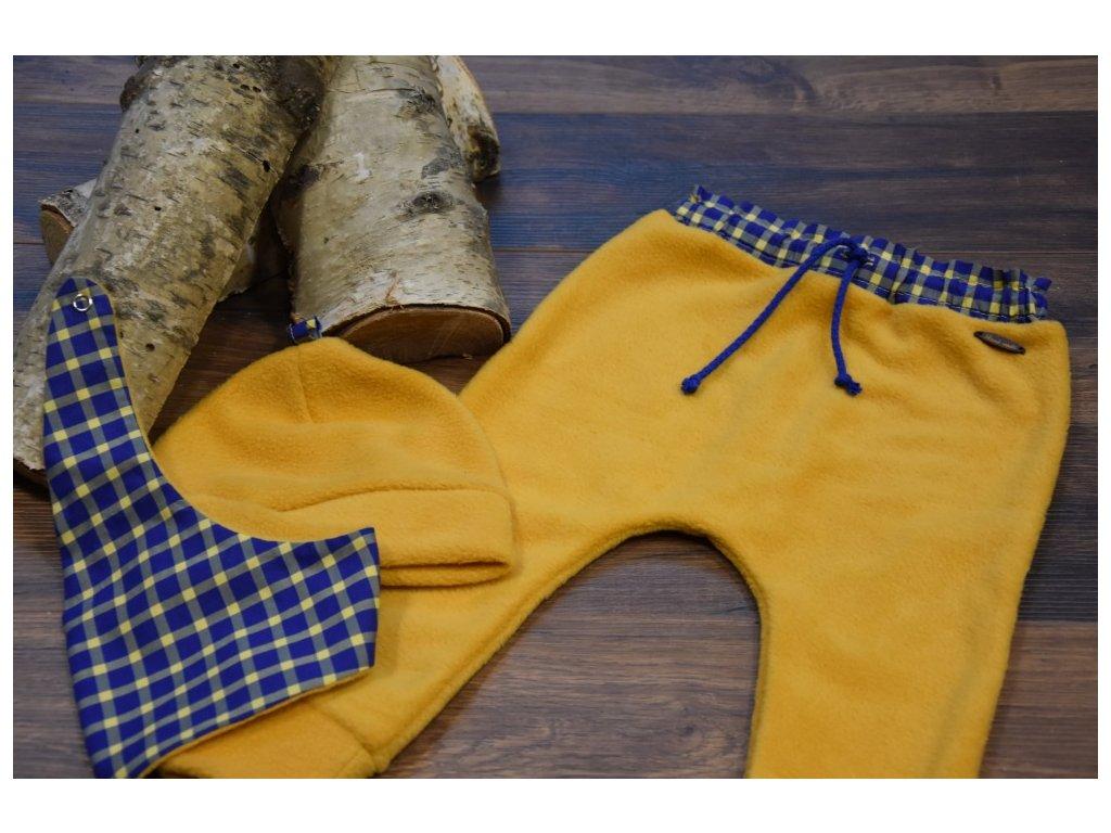 SET kalhoty, čepička, šátek žluté s modrožlutým drobným kárem