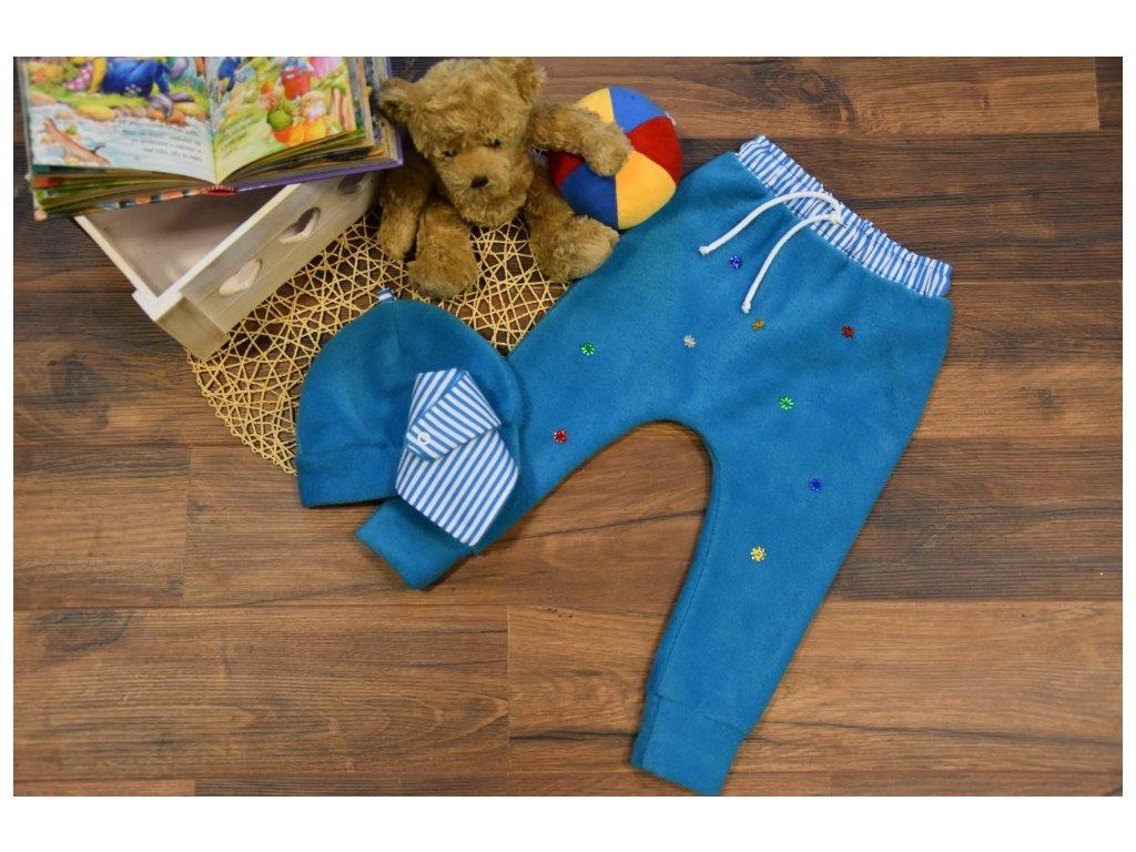 SET kalhoty, čepička, šátek tyrkys s barevnými hvězdičkami