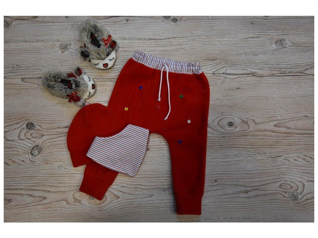 SET kalhoty, čepička, šátek růžový s barevnými hvězdičkami