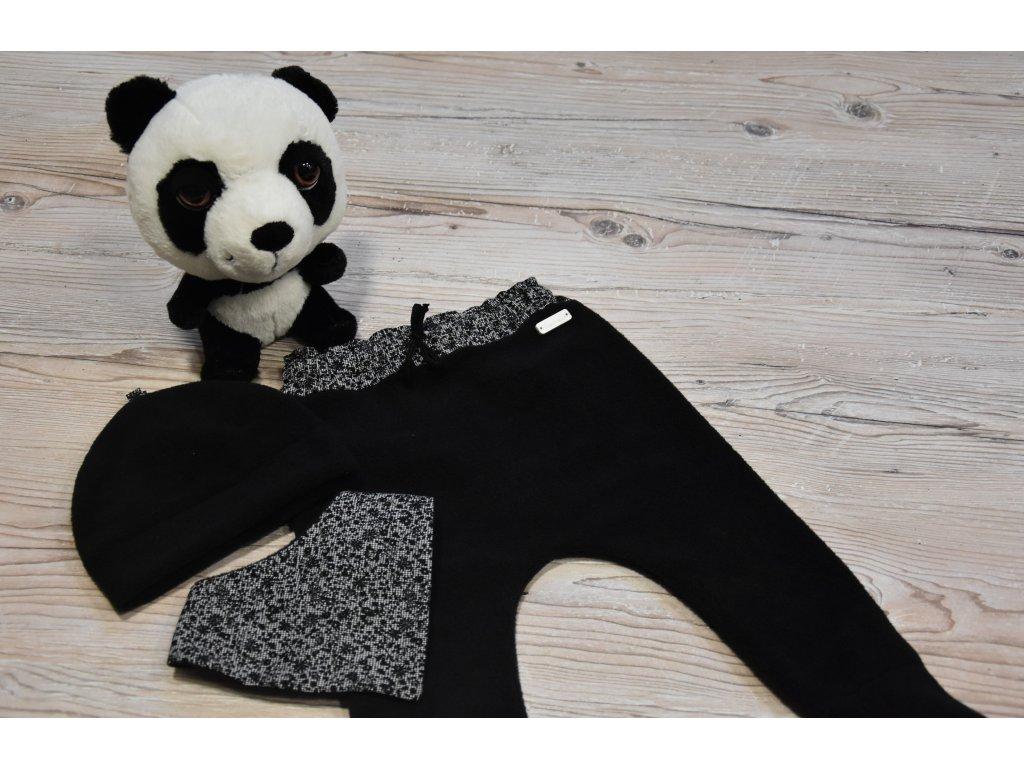 SET kalhoty, čepička, šátek černý