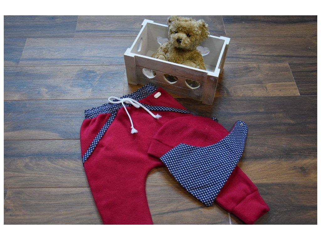 SET kalhoty, čepička, šátek růžový s bílou šnůrkou