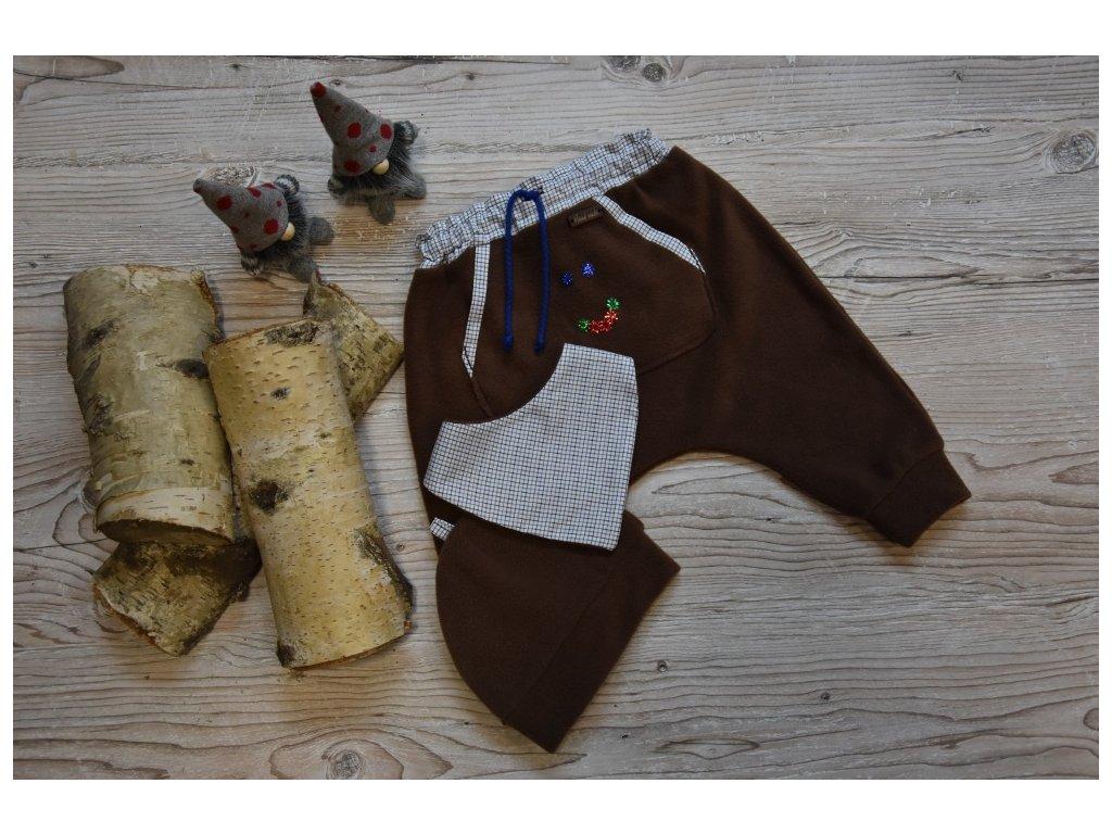 SET kalhoty, čepička, šátek hnědé s kapsičkou a smailíkem