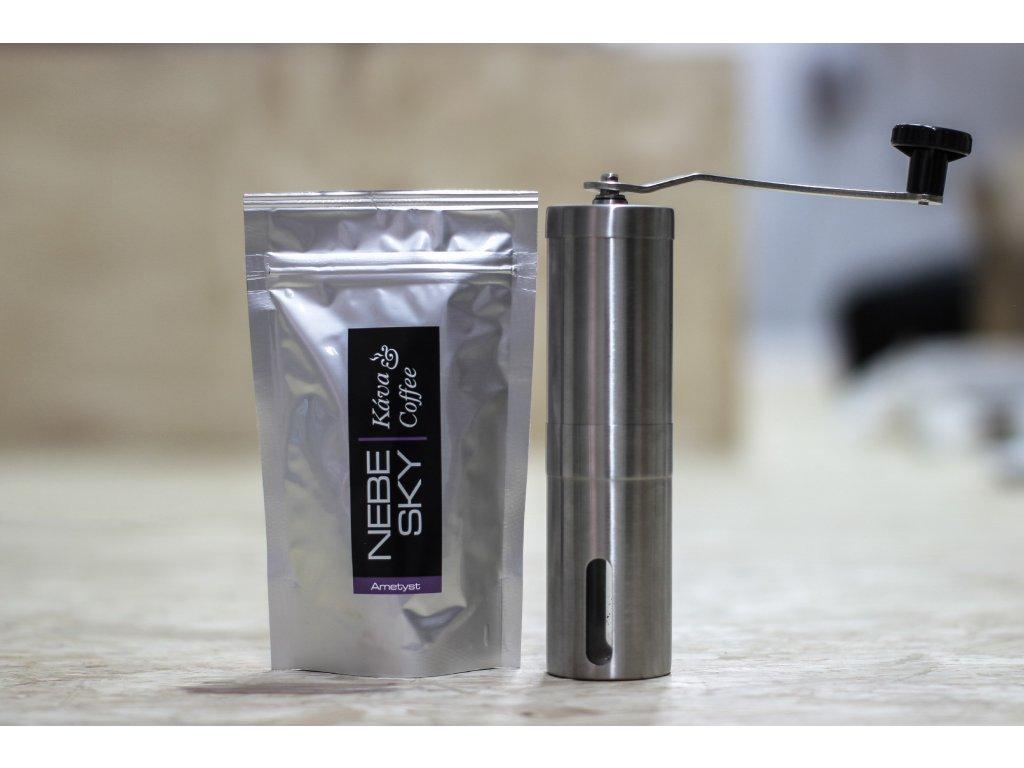 Ruční mlýnek na kávu plus 80g kávy