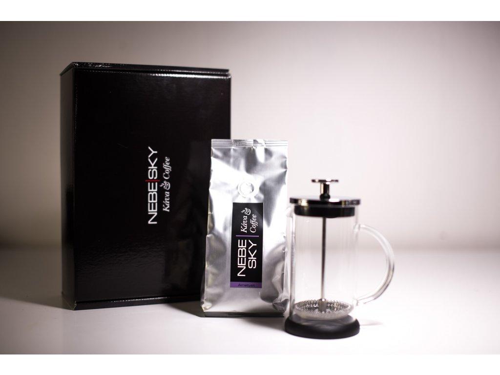 French press 300ml dárkové balení plus 225g kávy