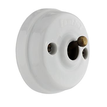 Dimbler - Retro porcelánový vypínač s mosazným krytem na omítku