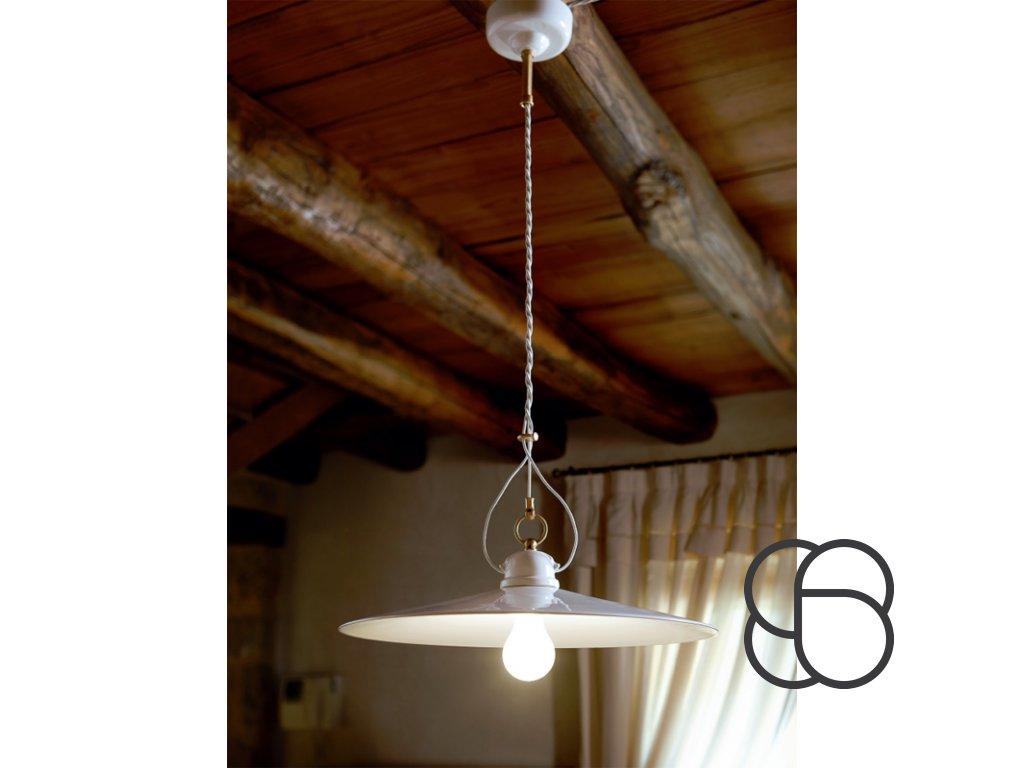 Porcelánové závěsné stropní svítidlo retro Linea Tesa 2
