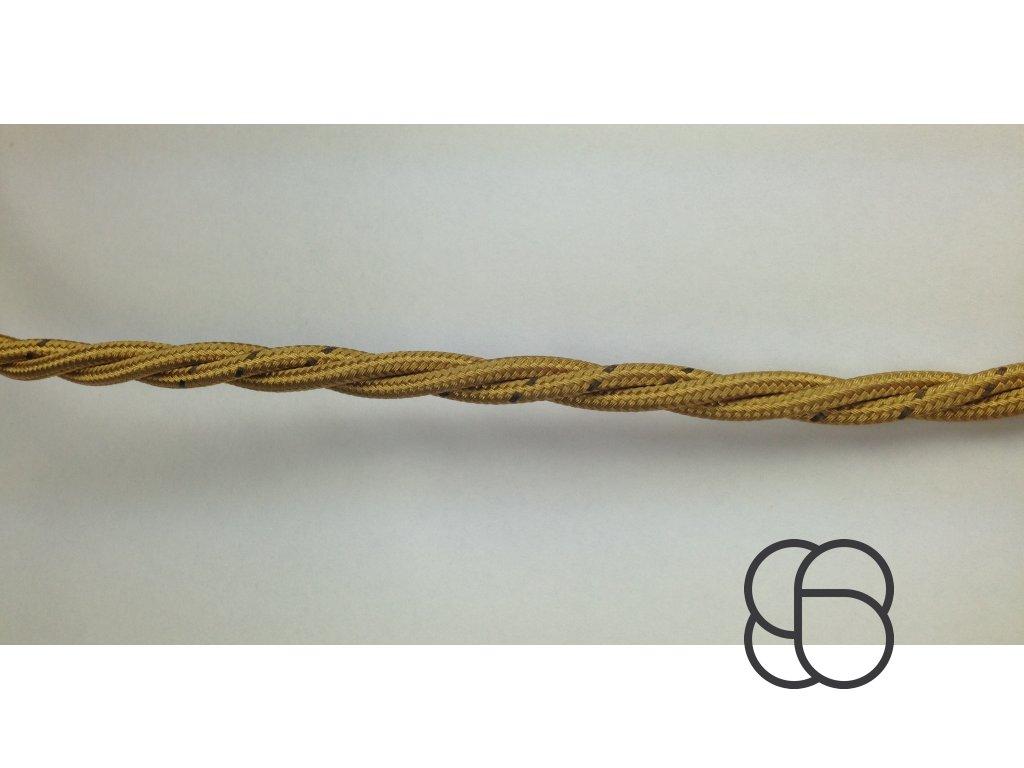 Splétaný kabel Aldo Bernardi oplétaný bavlnou - zlatá