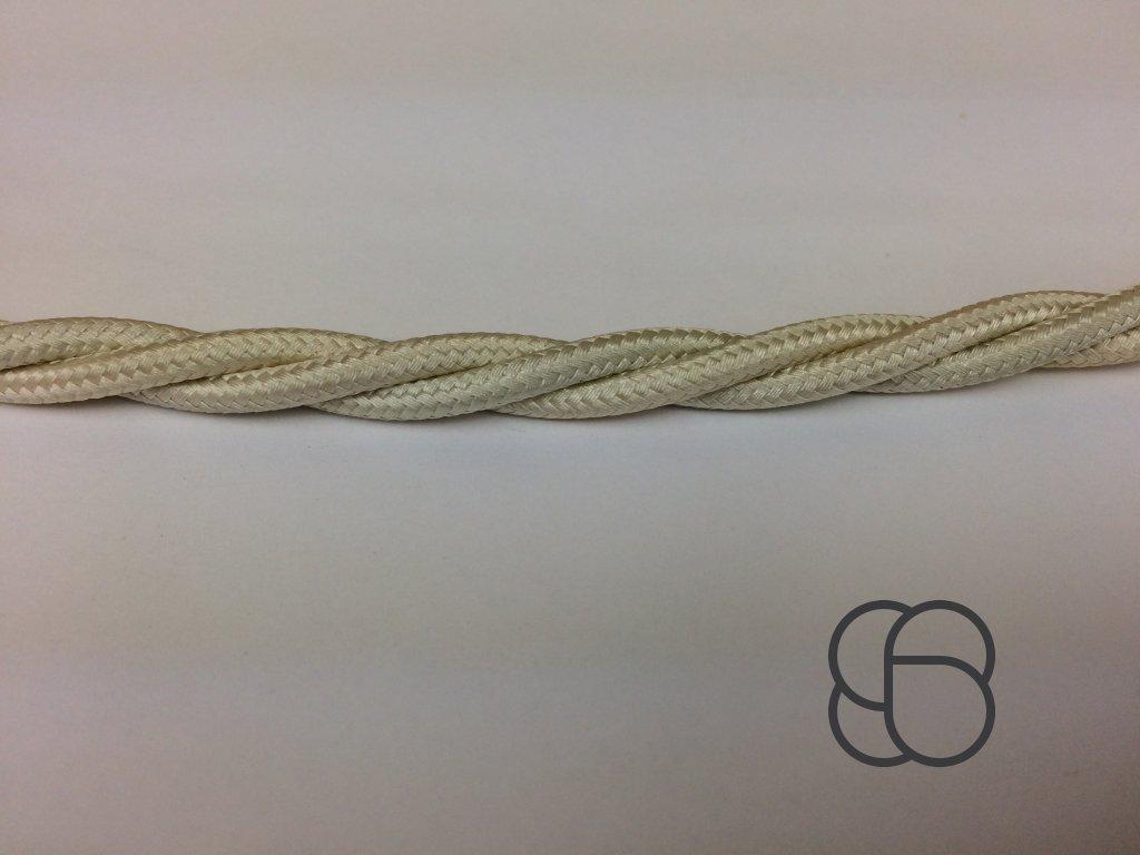 Splétaný kabel Aldo Bernardi oplétaný bavlnou - slonová kost