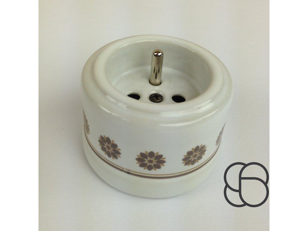 Porcelánová zásuvka GARBY bílá/hnědo-zlatý dekor