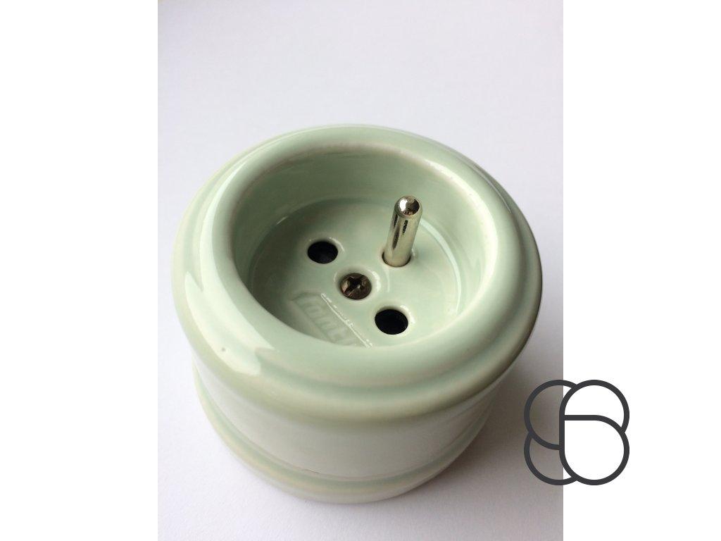Porcelánová zásuvka GARBY spec. zelený pastel