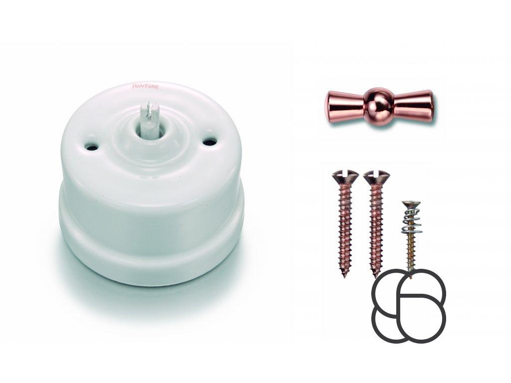 Porcelánový vypínač povrchový Garby bílý/klička měď