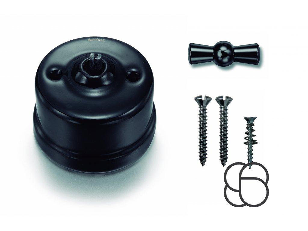 Porcelánový vypínač povrchový Garby černý/klička černý nikl