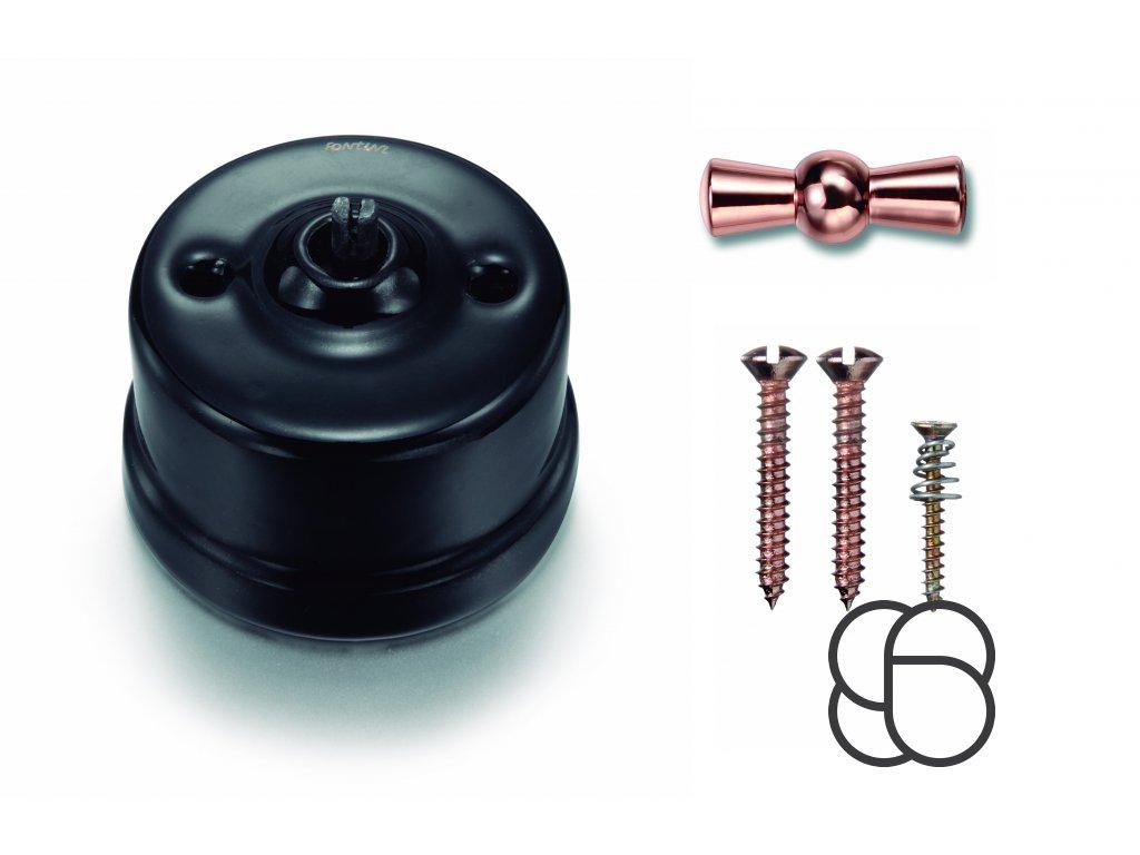 Porcelánový vypínač povrchový Garby černý/klička měď