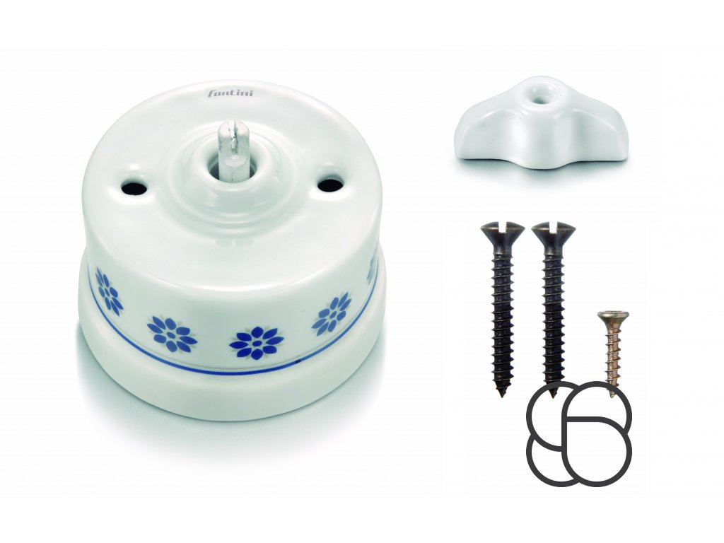 Porcelánový vypínač povrchový Garby M/S dekor, klička retro bílá
