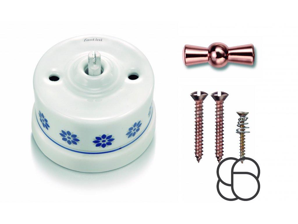 Porcelánový vypínač povrchový Garby M/S dekor, klička měď