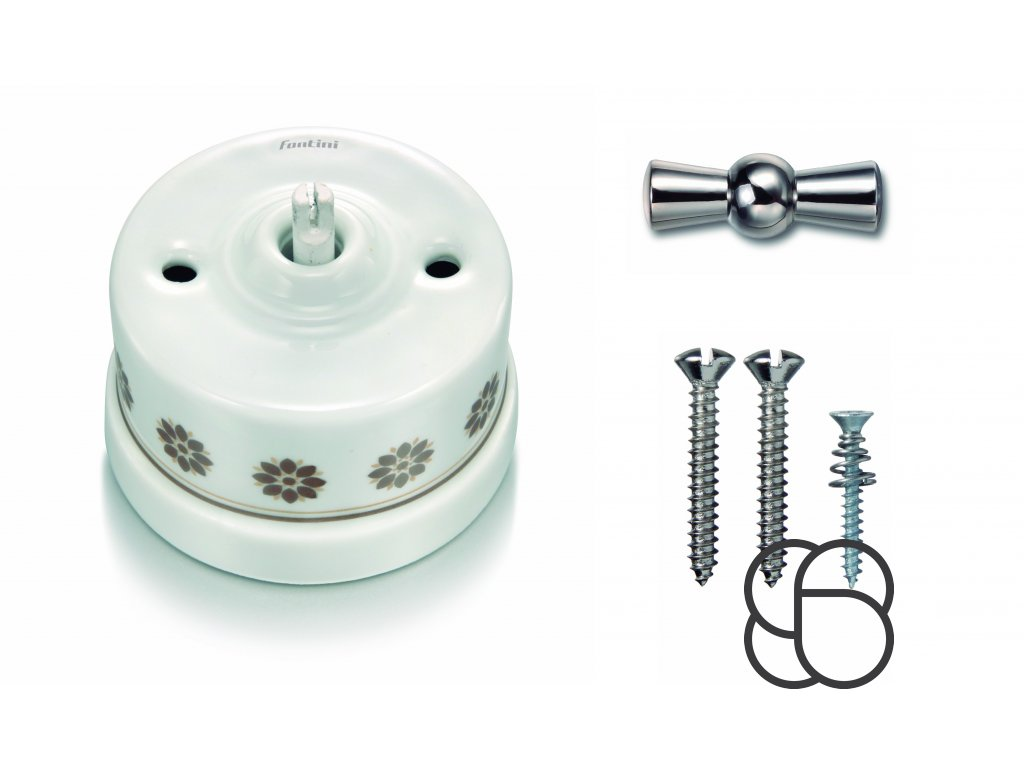 Porcelánový vypínač povrchový Garby H/Z dekor, klička chrom