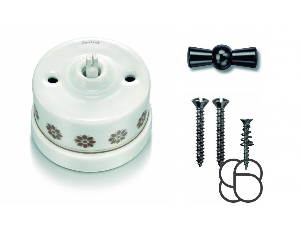 Porcelánový vypínač povrchový Garby H/Z dekor, klička černý nikl