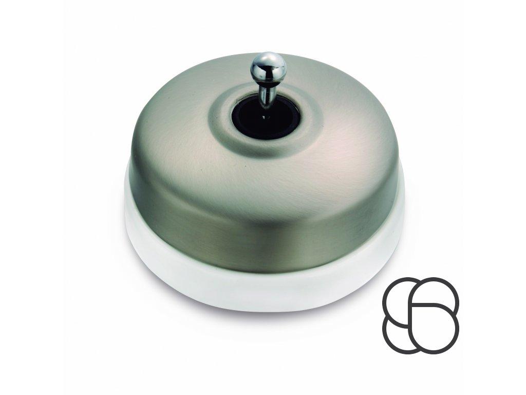 Porcelánový vypínač Dimbler bílá - kryt černý nikl/páčka černý nikl