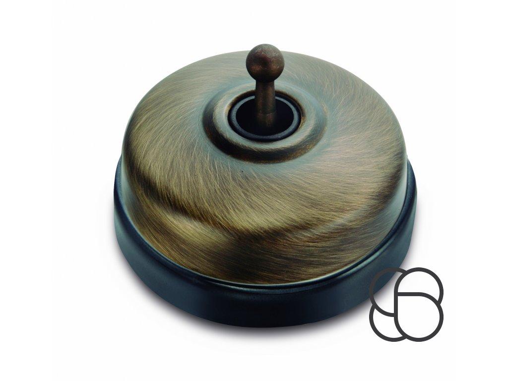 Porcelánový vypínač Dimbler černá - kryt antická bronz/páčka antická bronz