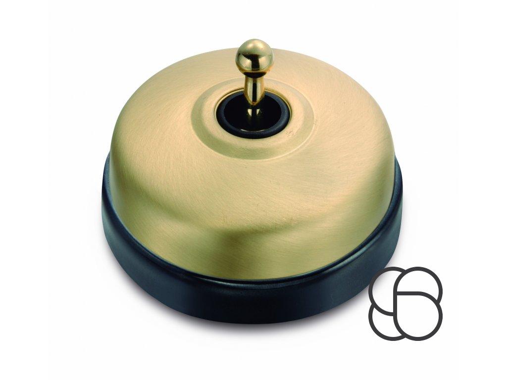 Porcelánový vypínač Dimbler černá - kryt zlatá/páčka zlatá