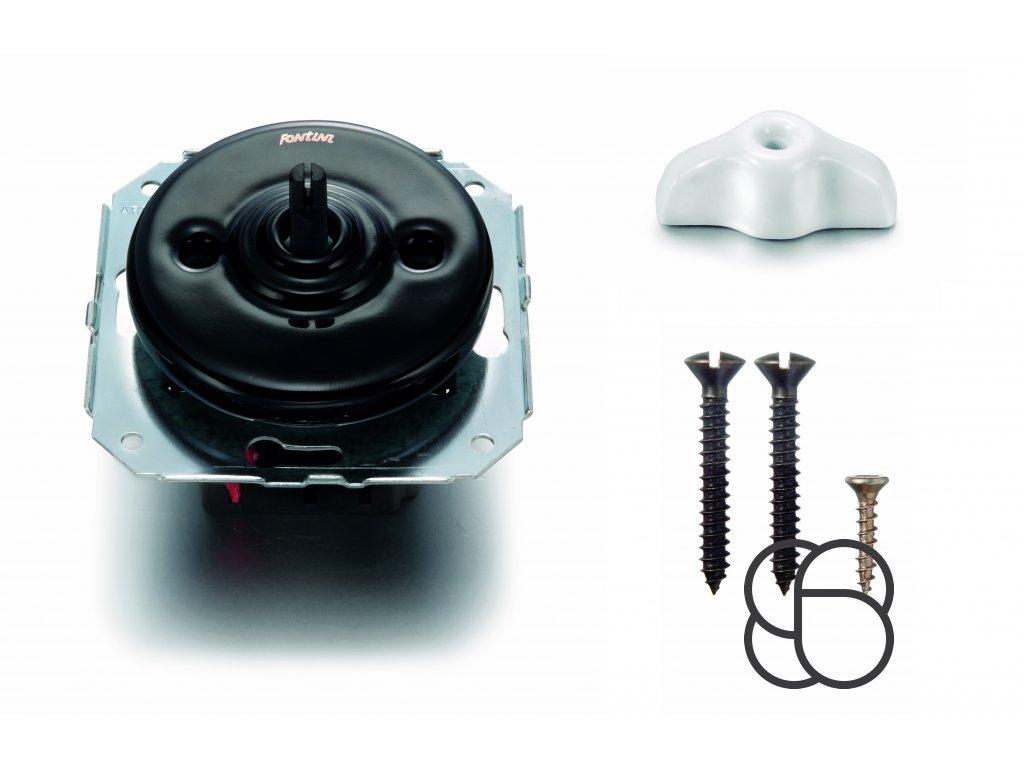 Porcelánový vypínač Garby Colonial černý/klička retro bílá