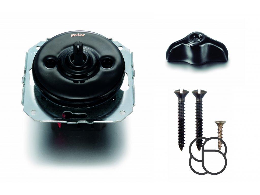 Porcelánový vypínač Garby Colonial černý/retro klička černá
